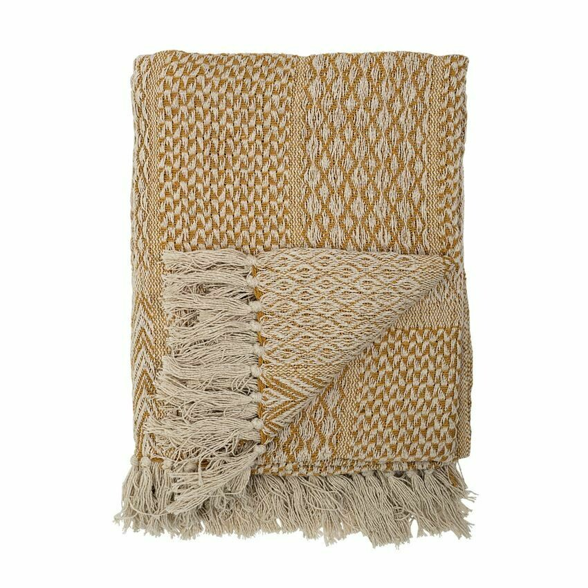 Patti Cotton Knit Throw Mustard