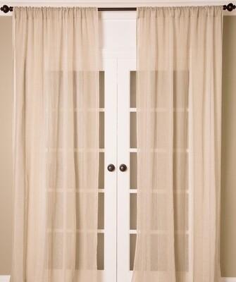 Pure Linen Stripe Drapery Panel Rod Pocket
