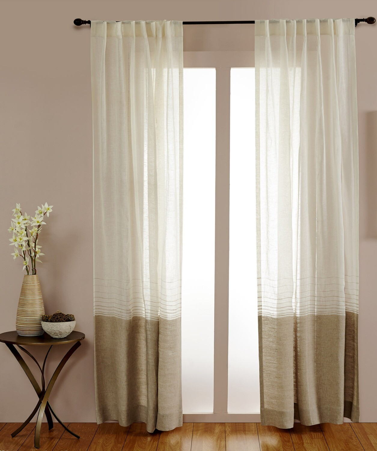 "84"" Sheer Linen Dual Color Drapery Panel Rod Pocket W/ Hidden Tabs"