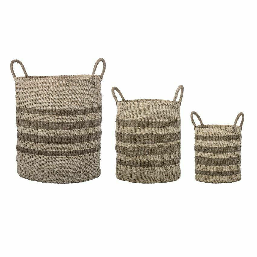 Small Seagrass & Palm Striped Basket