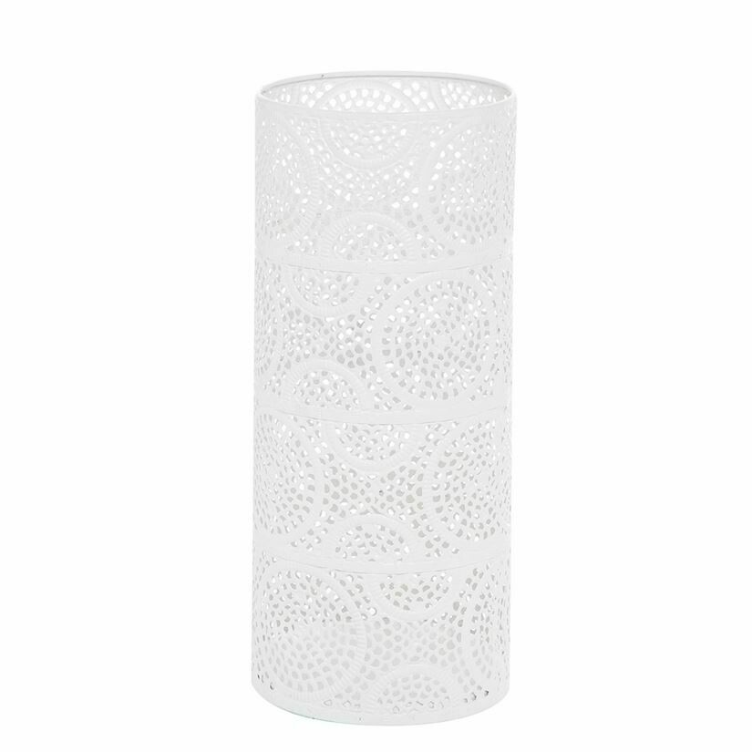 White Scrollwork Pillar Candle Holder Large