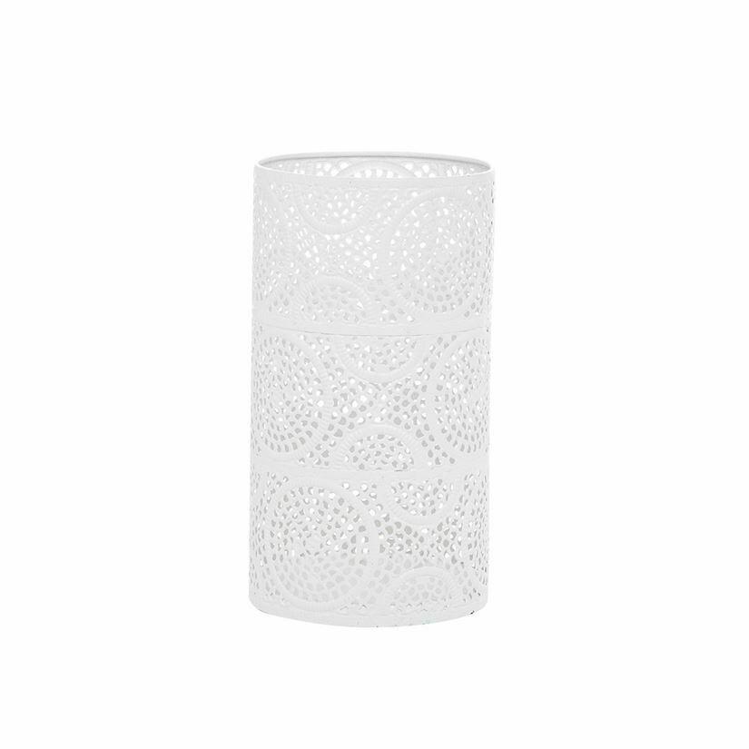 White Scrollwork Pillar Candle Holder Medium