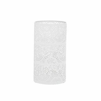White Scrollwork Pillar Candle Holder Medium
