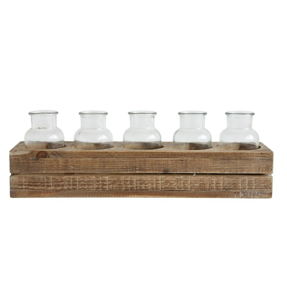 Wood Crate W/ Glass Bottles