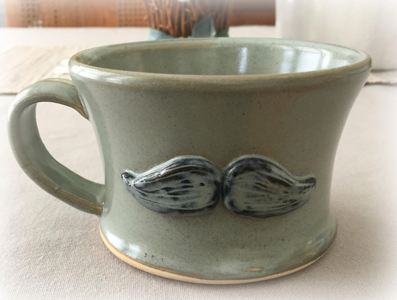 Mustache Shaving Mug - Sage Grey