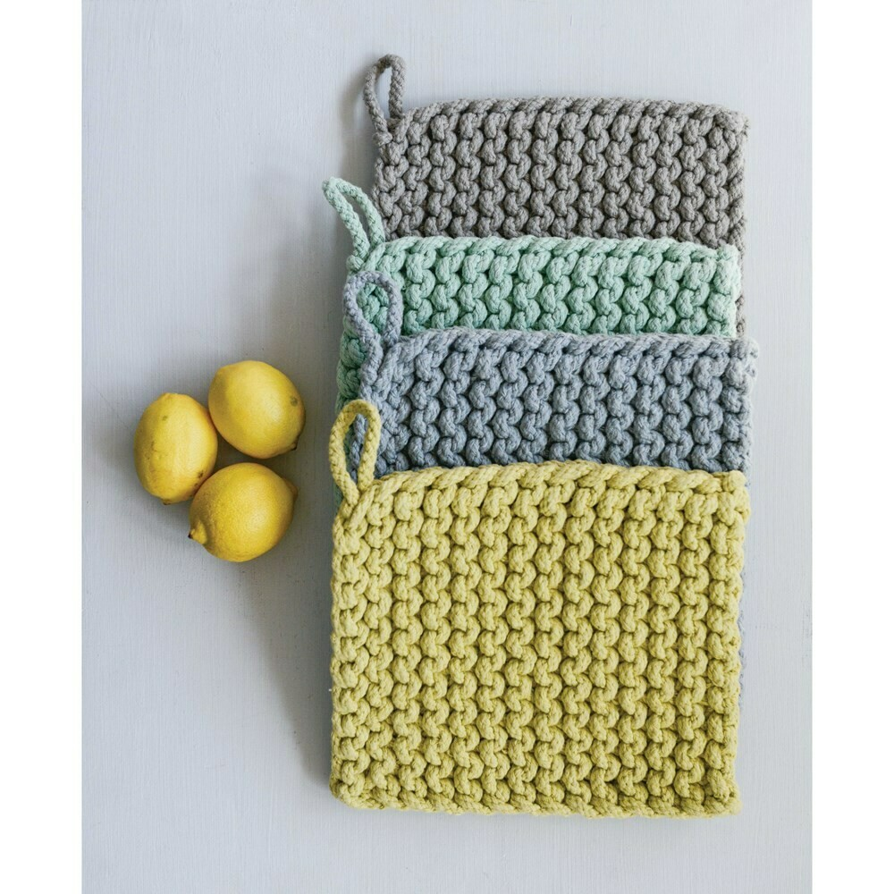 "8"" Square Cotton Crochet Potholder"