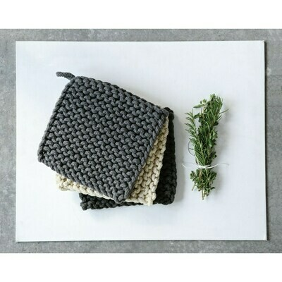 "8"" Square Cotton Crocheted Potholder, Neutral"