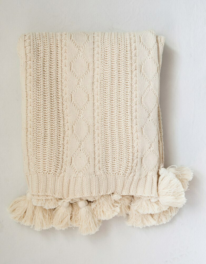 Alicia Cotton Cable Knit Throw, 50x60