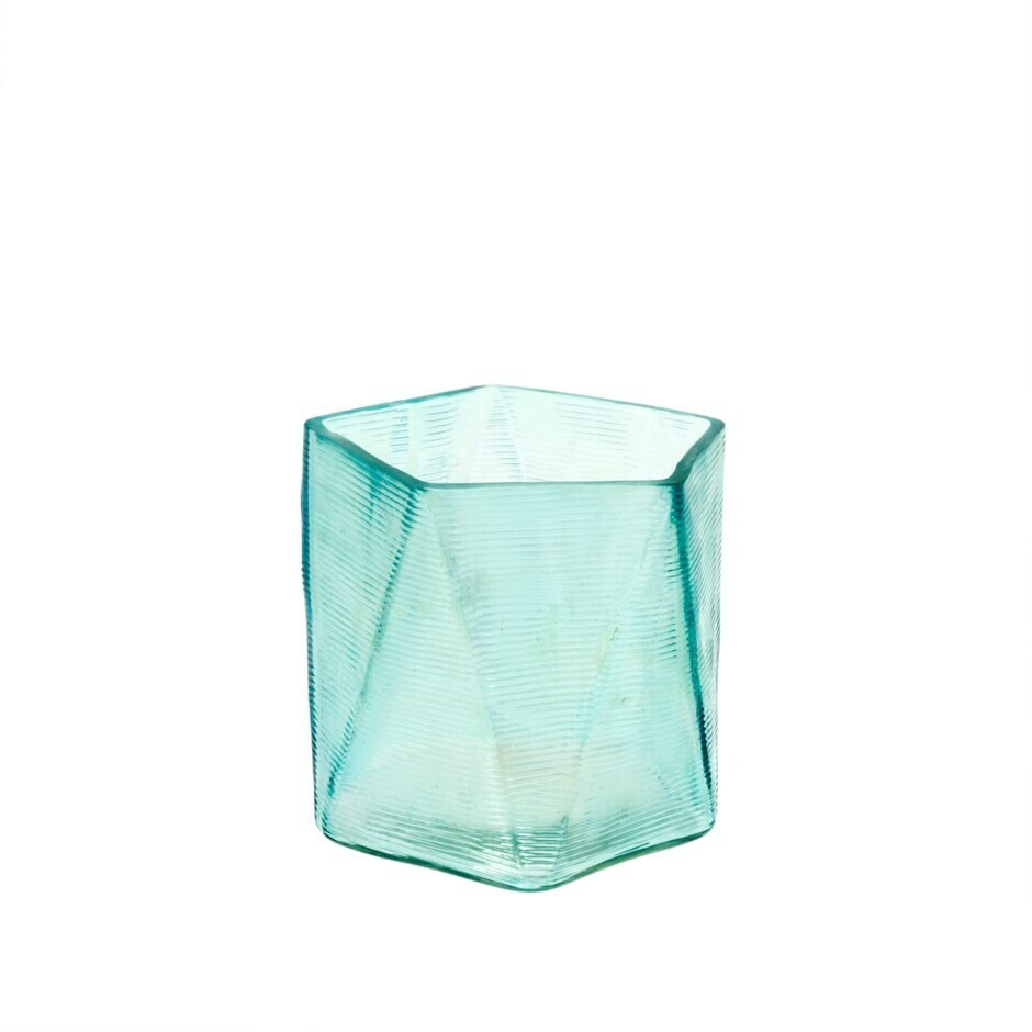 Aqua Glass Prism Votive Holder