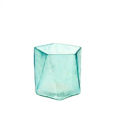 Aqua Glass Prism Votive Holder
