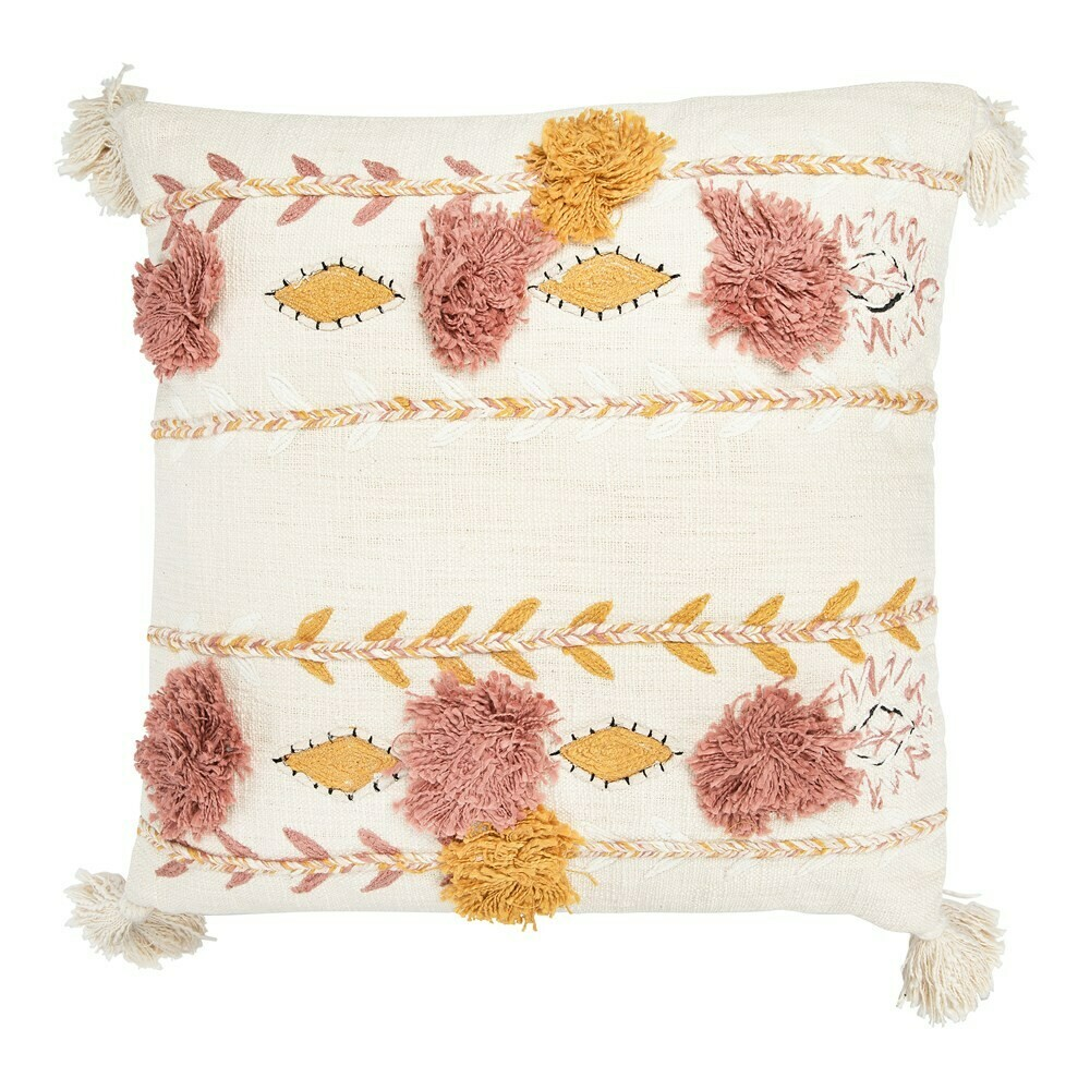 Blossom Cotton Embroidered Pillow 20""