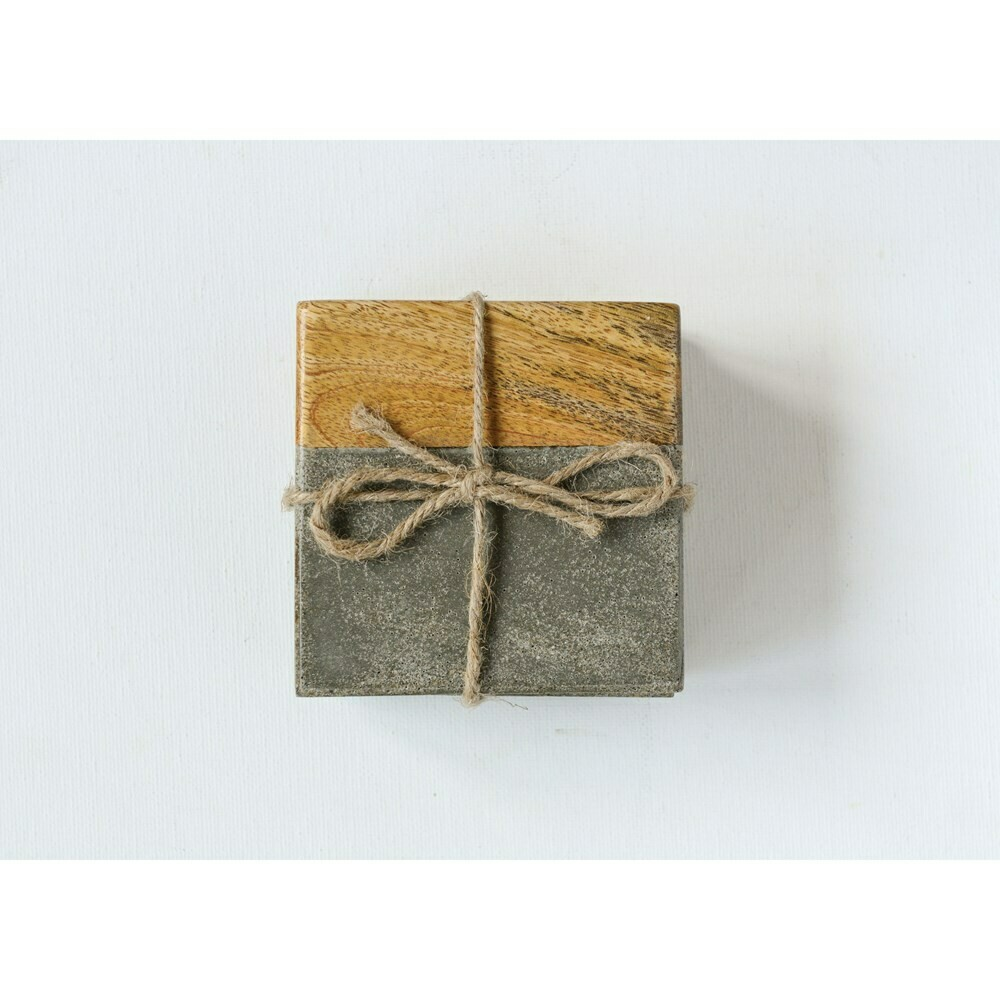 Cement & Wood Coasters, Set Of 4