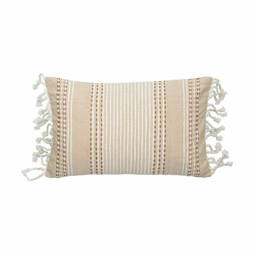 Nila Handwoven Pillow 14x22, Beige