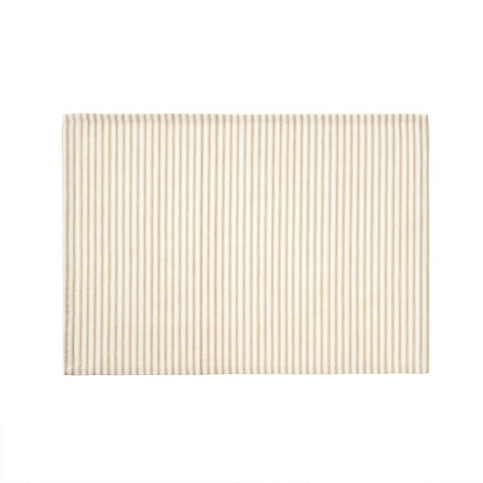 Ticking Placemat, Beige