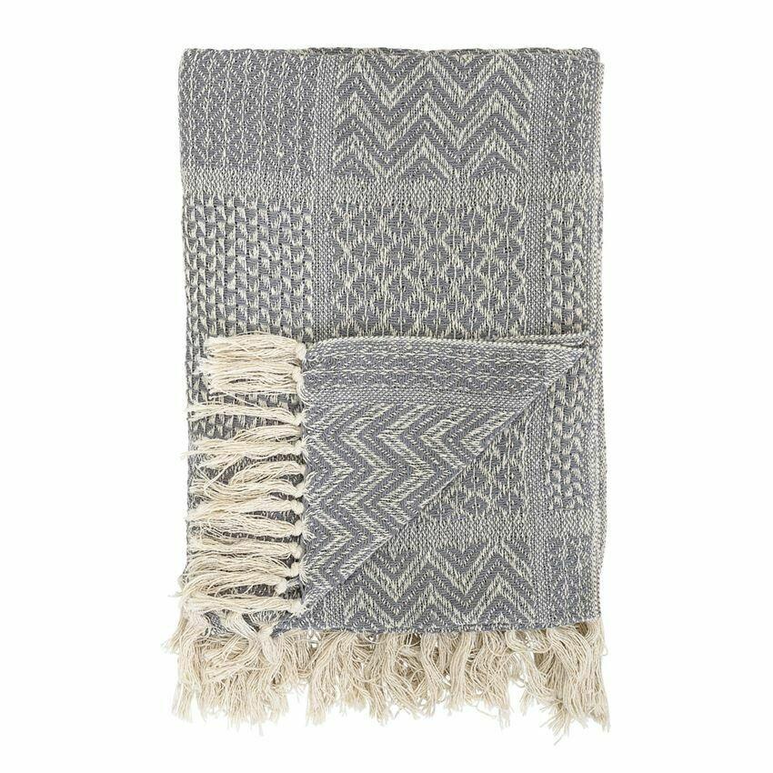 Patti Cotton Knit Throw Grey