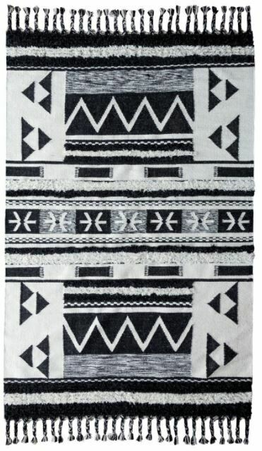 Artesia Kilim Shag Rug Ivory/Black