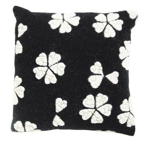 """Flower Petals Wool Pillow, 17"""""""