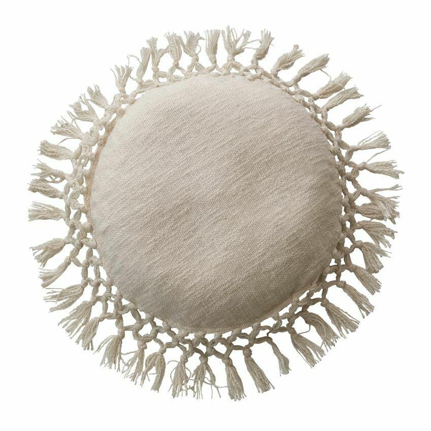 Rosie Round Cotton Pillow, Ivory