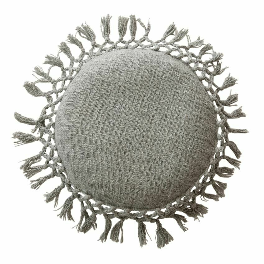 Rosie Round Cotton Pillow, Lt Grey 16""
