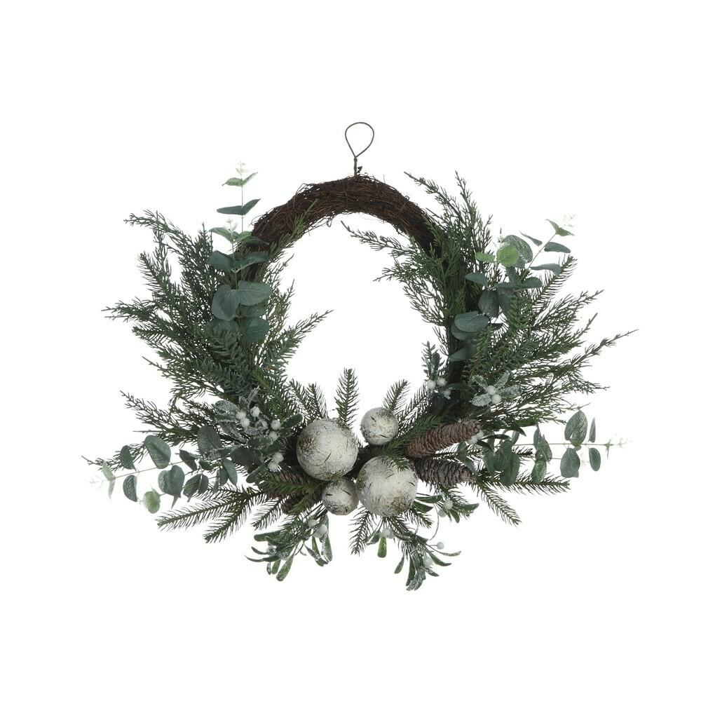 "26"" Pine Eucalyptus Mistletoe Wreath"