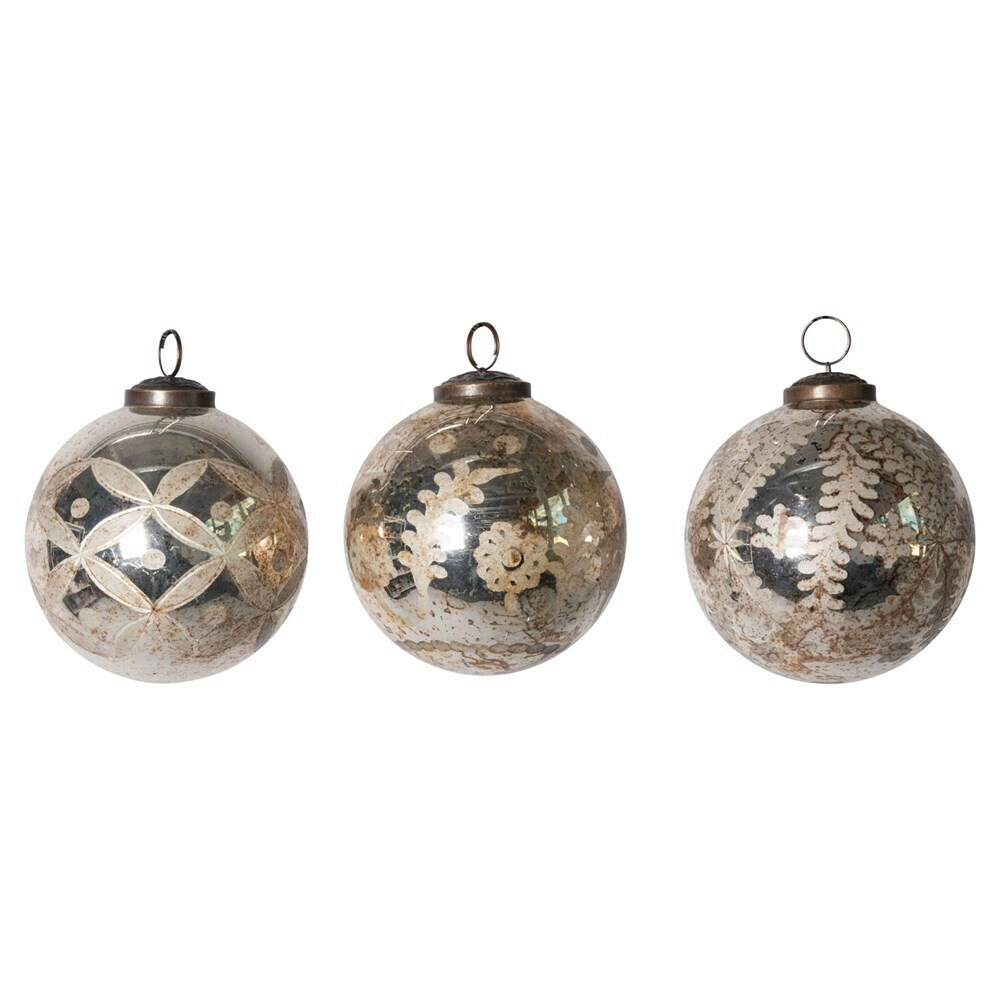 """4"""" Etched Mercury Glass Round Ornament"""