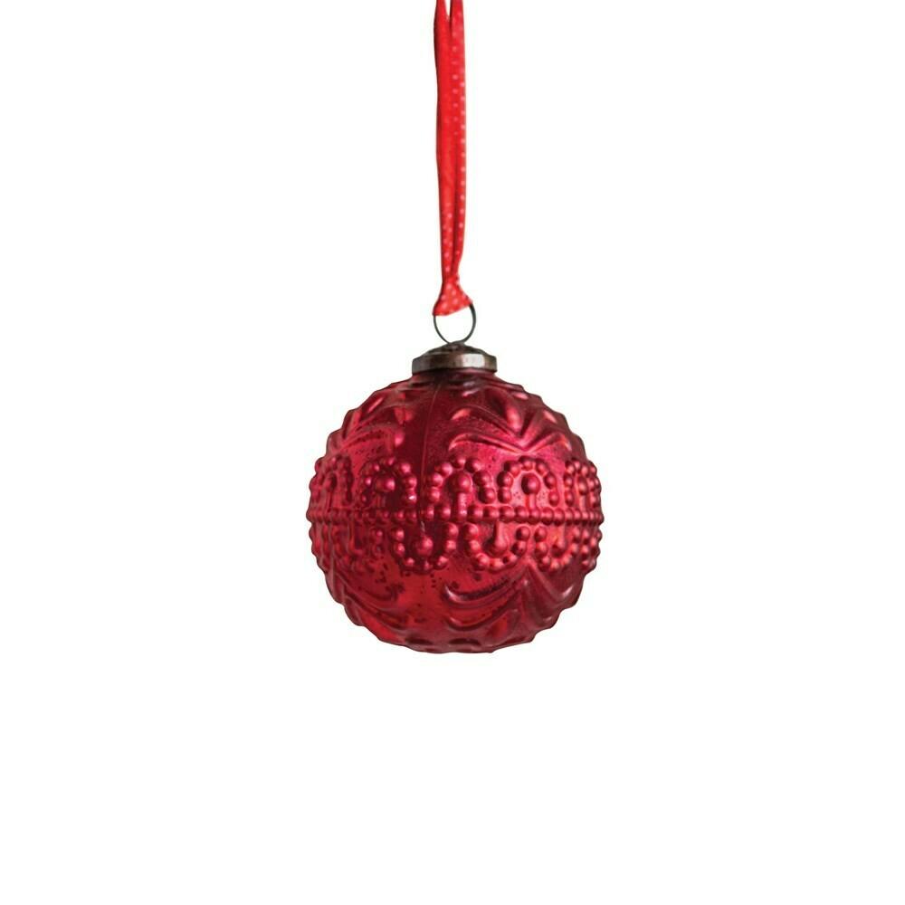 "Matte Red Glass Ball Ornament, 4"""