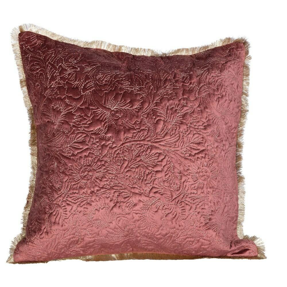 """Mavis Cotton & Velvet Embroidered Pillow, 18"""""""
