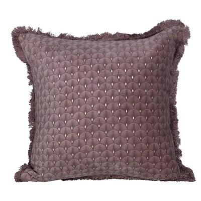 """Plum Cotton & Velvet Pillow, 16"""""""