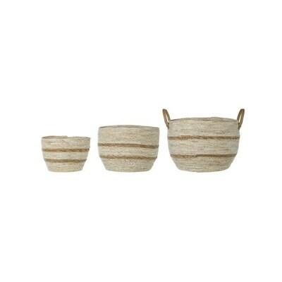 Maize Baskets W/ Handles, Set Of 3