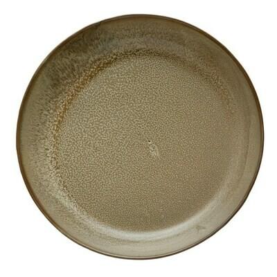 "13"" Round Stoneware Serving Bowl, Brown"
