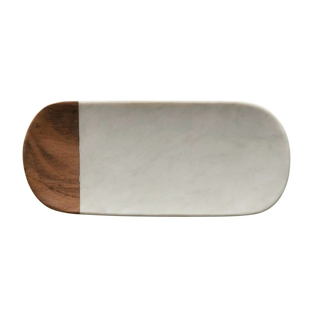 """12"""" Oblong Marble/Acacia Wood Serving Tray"""