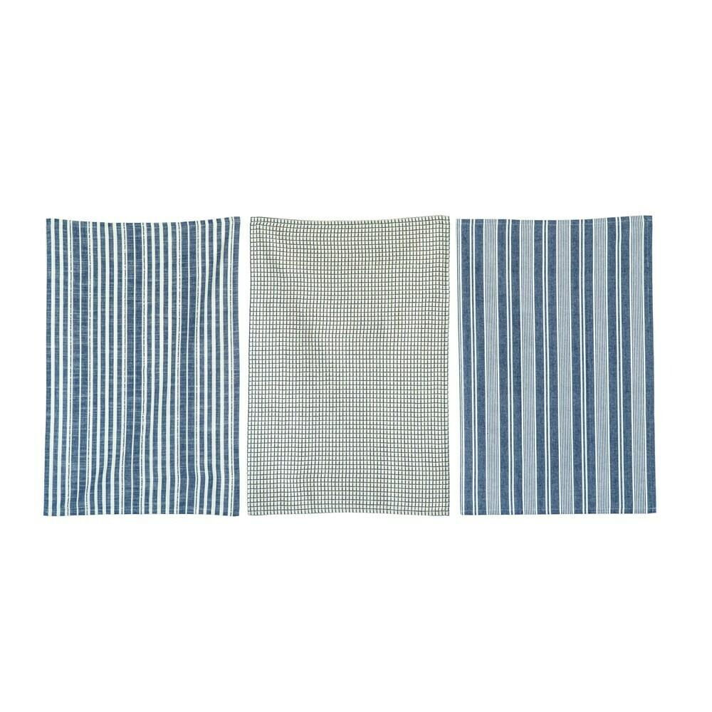 Cotton Tea Towels, Navy Set Of 3
