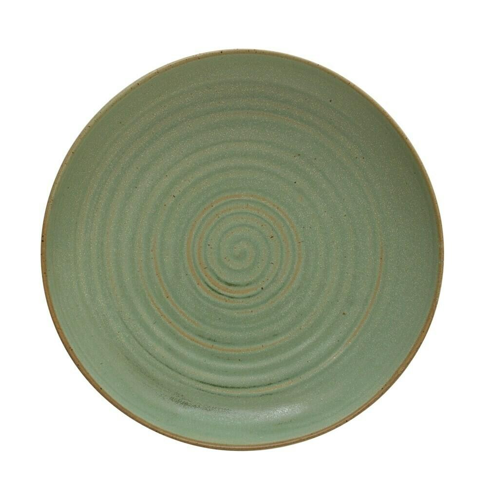 Round Stoneware Serving Bowl, Green