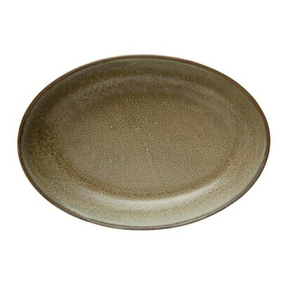 Oval Stoneware Serving Bowl, Brown