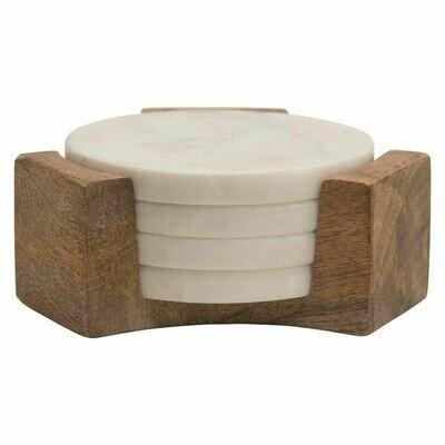 White Round Marble Coaster Set