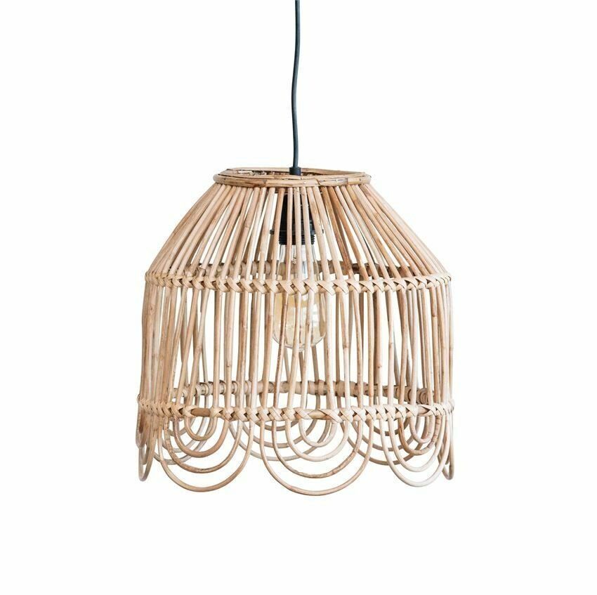 Scalloped Edge Rattan Pendant Light 13""