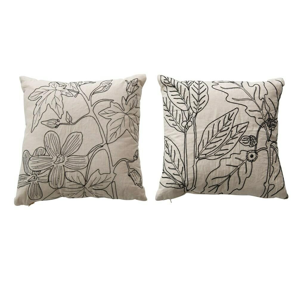 "Botanical Embroidered Pillow, Black 18"""