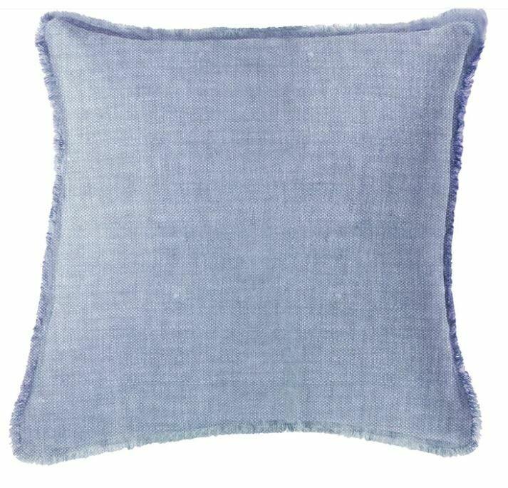 Chambray Blue Linen Pillow 20x20