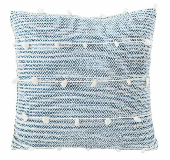 Candace Textured Stripe Pillow, Indigo Blue 20x20