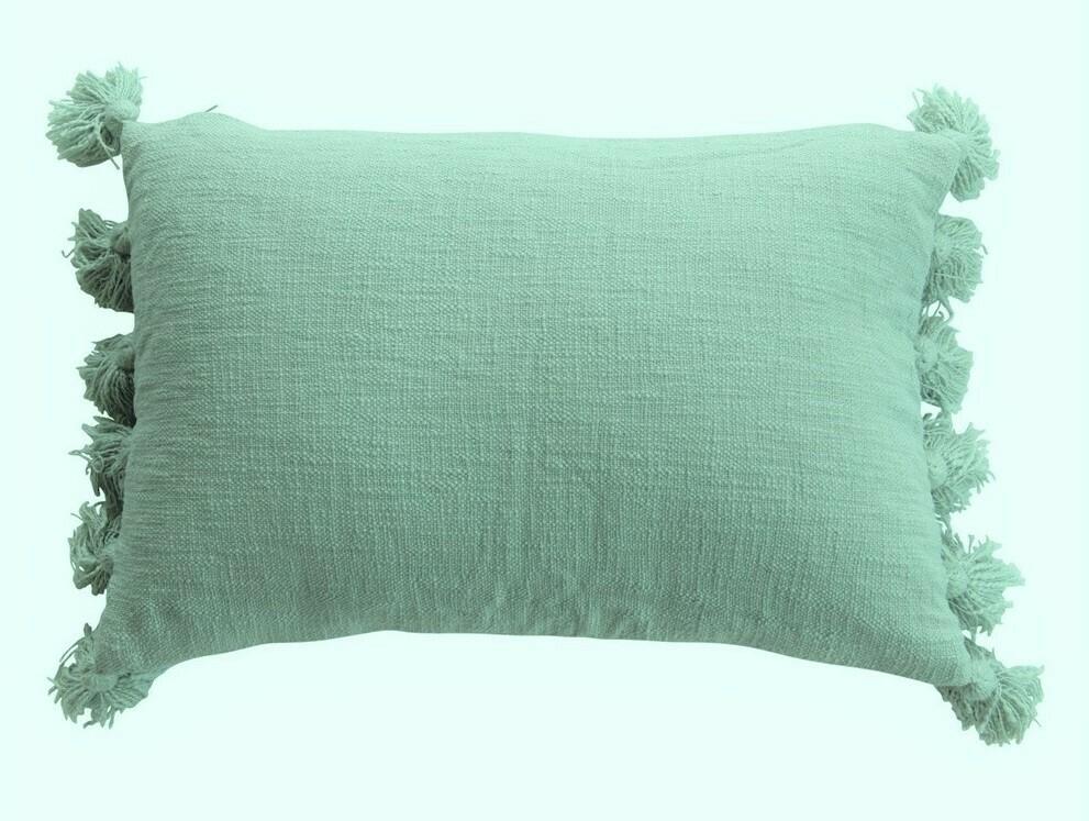 Christine Cotton Boucle Pillow, Aqua 24x16