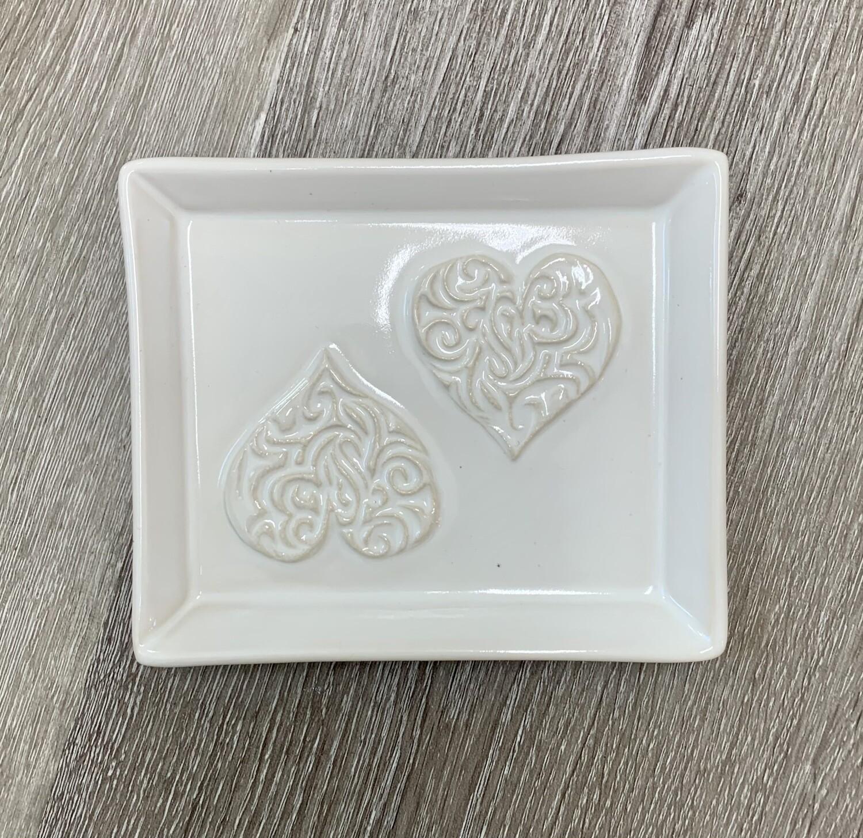 Two Hearts Soap Dish - Ivory