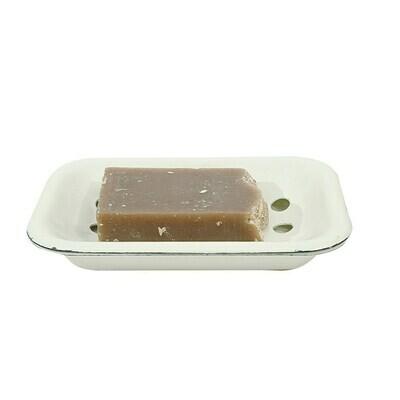 White Enameled Metal Soap Dish