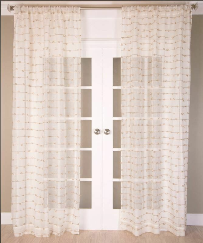 "52""x84"" Linen Sheer Panel W/ Jute Knots"