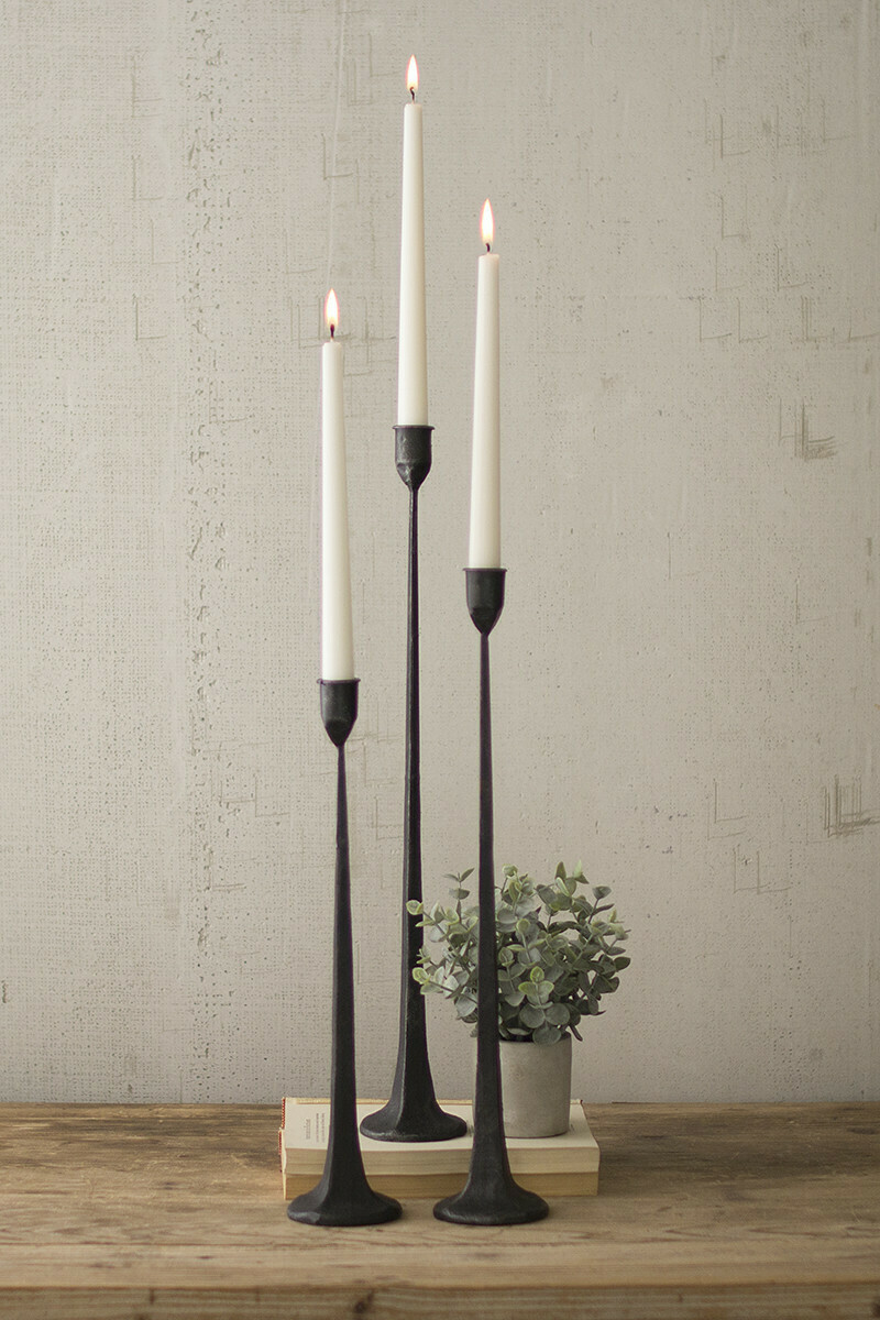 Cast Iron Taper Candle Holders, Set Of 3