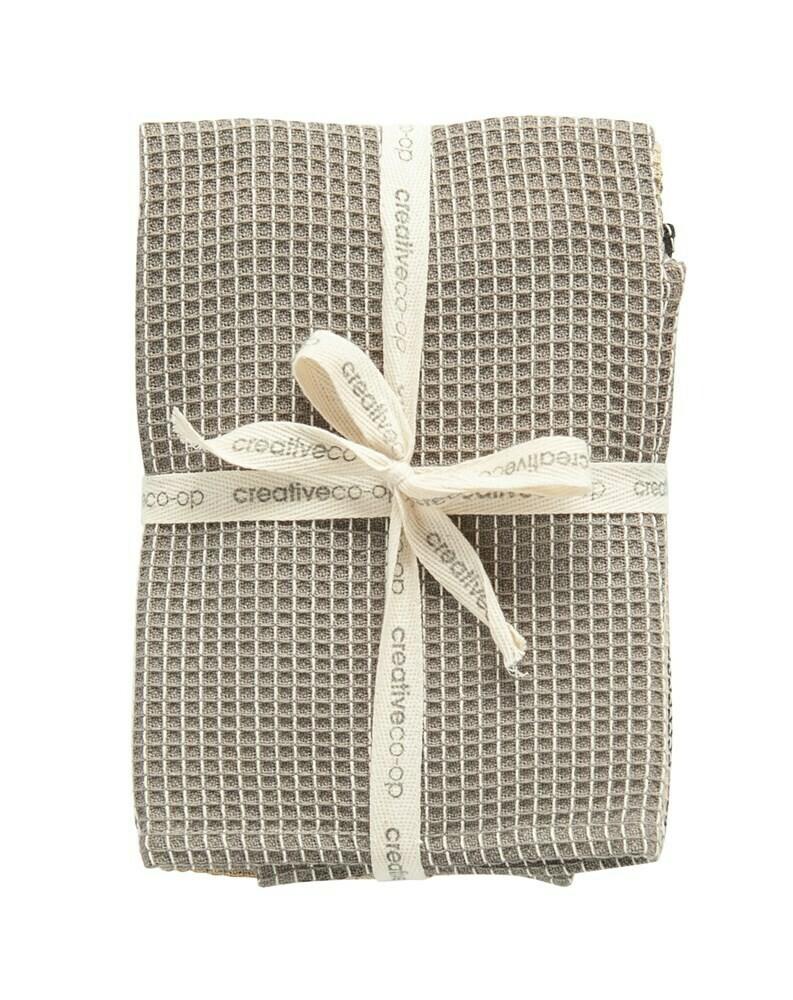 Cotton Kitchen Towel Set, Blk Khaki Grey