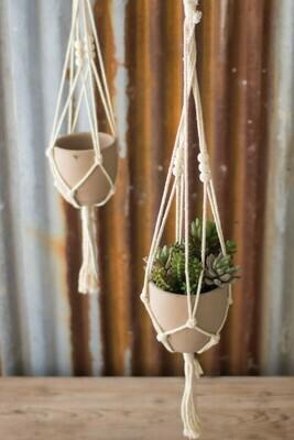 Cotton Macrame Hanger W/ Clay Pot, Light Beige