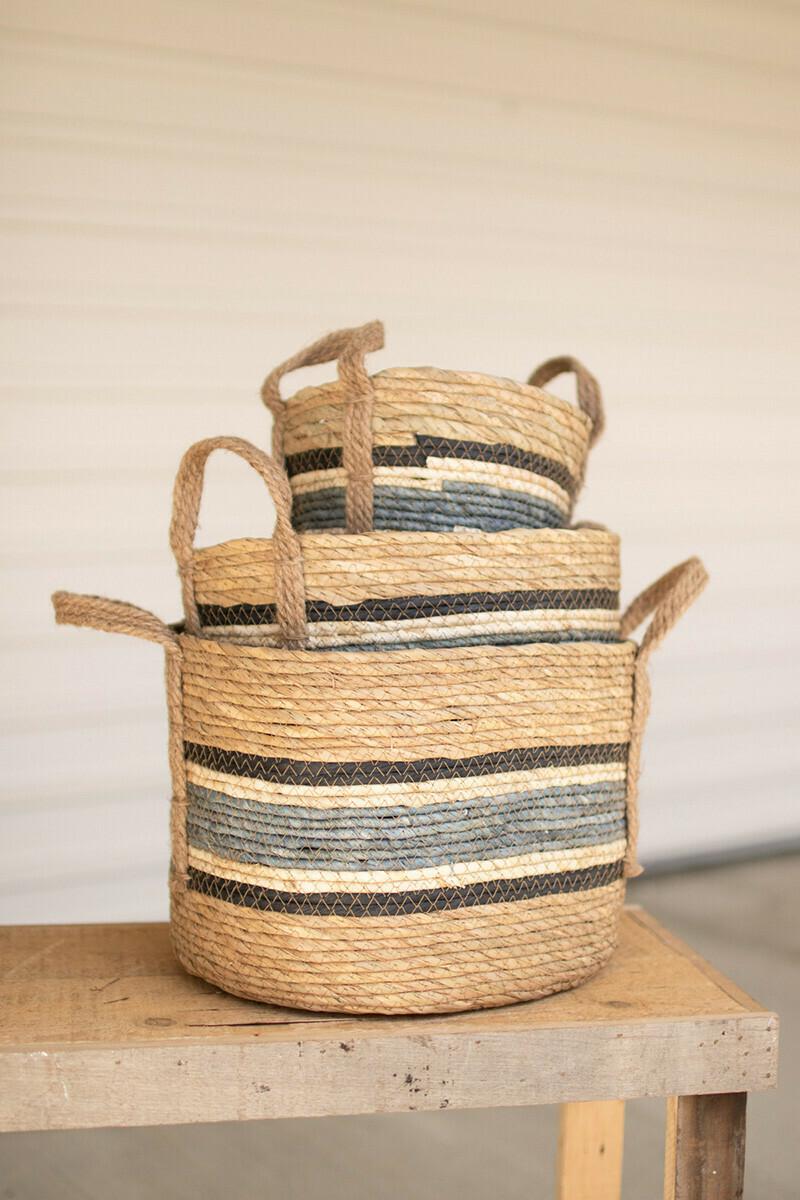 Large Blue Stripe Rush Basket