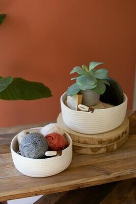 Medium White Cotton Round Basket