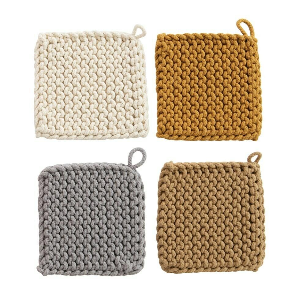 """8"""" Square Cotton Crochet Potholder"""
