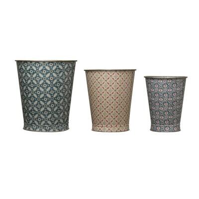 Metal Boho Pattern Bucket, Medium